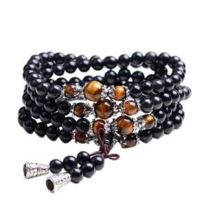 Bracelet Mala en pierre obsidienne et œil de Tigre