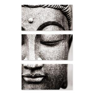 Affiche murale Bouddha art gris 3 pièces