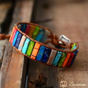 Bracelet wrap de jaspe artisanal «Positivité et guérison»