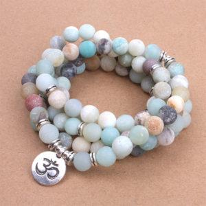 Bracelet Mala de 108 perles «Amazonite naturelle»