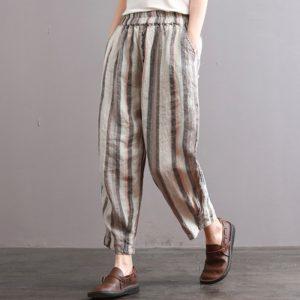 Pantalon harem relax à rayures