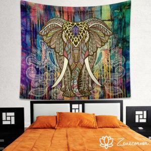 Tenture murale bohème éléphant colorée